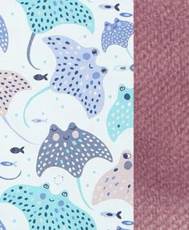 VELVET COLLECTION - THICK STROLLER PAD -  MANTA RAY - FRENCH LAVENDER